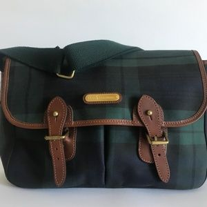 1980s Ralph Lauren Black Watch Plaid Messenger Bag